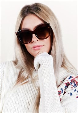 Oversized Round Cat Eye Brown Sunglasses