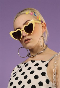 Tinted Heart Sunglasses in Cream