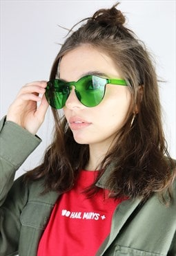 Rimless retro green sunglasses