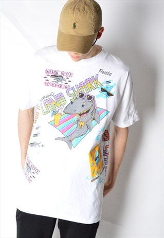 VINTAGE 80S WHITE COLOURFUL SHARK PARTY T-SHIRT