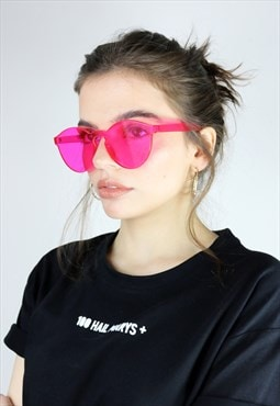 Rimless retro pink sunglasses