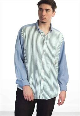 Vintage Tommy Hilfiger Logo Color Block Shirt 90s Xl 10.5
