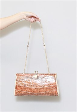 Vintage 1970's Brown Faux Snake Leather Shoulder Bag