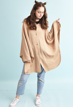 90's retro shimmer knit cape neutral knit poncho jacket