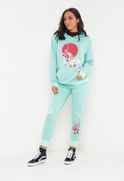 Sakura Boyfriend blossom hoody in mint green