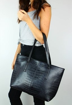 NEW Croc Leather Look Shoulder Tote Bag