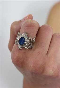 1970's Silver Filigree & Lapis Ring
