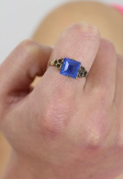 1950's Square Blue Gem Ring