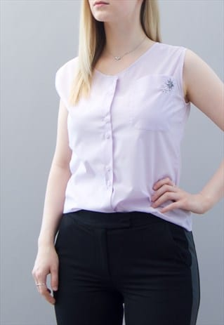 REWORKED VINTAGE SLEEVELESS LILAC TOP WITH EMBROIDERY DETAIL