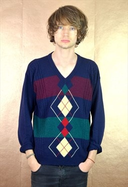 90's Vintage St Michael Diamond Knit Jumper