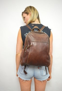 Vintage 90s Brown Leather Rucksack Grunge Preppy Festival