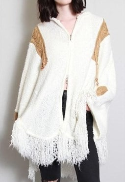 Vintage 1980's Cozy Knit White and Brown Tasseled Cape