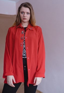 Vintage funky red embroidered shirt