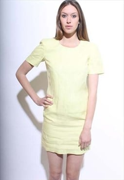 vintage 1980's 80's neon yellow linen shift dress bright S-M