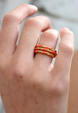 1960's Orange Enamel Twist Rings Set
