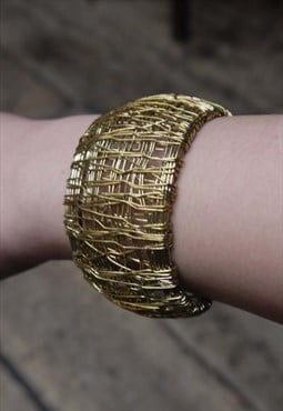 Gold Net Mesh Bangle Bracelet