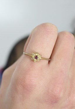 1980's Pink Gem Flower Ring