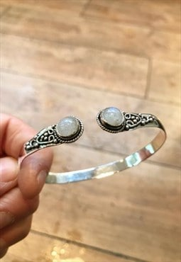 Silver Tone Detailed Bracelet with White Stone