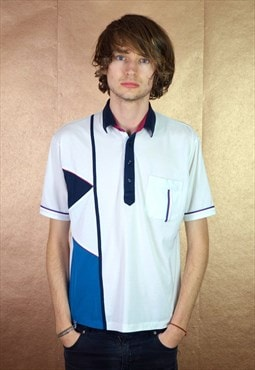 90s Vintage St Michael Leisurewear White Polo Shirt