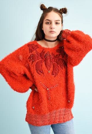 80'S RETRO FLUFFY MOMS BEADED SLOUCHY KNIT JUMPER