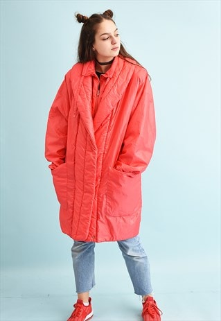 80'S RETRO ATHLEISURE PUFFER PARKA COCOON SHAPED COAT
