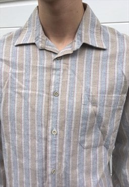 Mens Vintage 80s brown beige stripy long sleeve shirt top