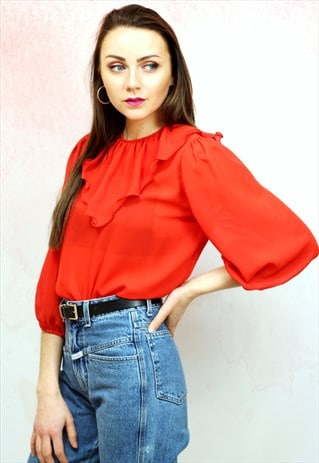 1990S VINTAGE RED SEMI SHEER RUFFLE BLOUSE