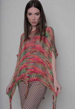 vintage multicolored knitted poncho cape.one size.unisex