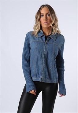 Denim Jacket Wool Lightweight Vintage  UK 12 (BCT)
