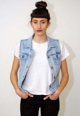 vintage Denim Vest (M) jean 90s distressed jacket top grunge