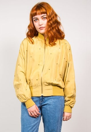 VINTAGE 90'S MUSTARD YELLOW GOLD STUDDED BOMBER JACKET