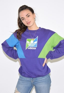 Vintage 90s Purple Adidas Crew Neck Sweatshirt