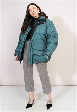 Vintage 90s Oversized Green Puffer Jacket