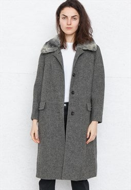 Vintage Grey REINE SCHUR-WOLLE Faux Fur Coat