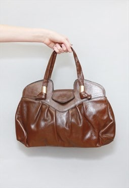 Vintage 1970's Soft Brown Leather Handbag