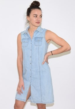 Vintage Light Blue Denim 90s Dress