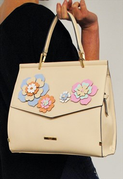 Floral Cream Tote Bag With Detachable Shoulder Strap