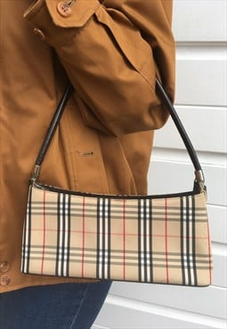 Womens Vintage 80s Burberry nova check handbag purse
