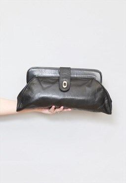 Vintage 1970's Classic Black Leather Clutch Bag