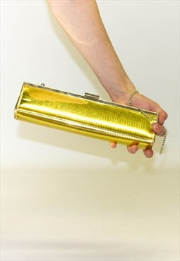 90's Metallic Gold Boxy Chained Clutch