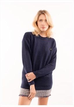 Un-happy face embellished jumper (Blue)