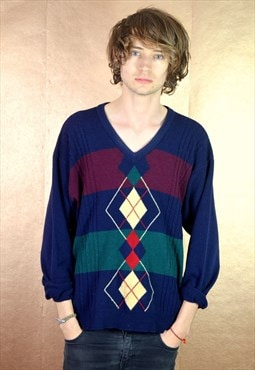 90s Vintage Patterned St Michael V Neck Jumper