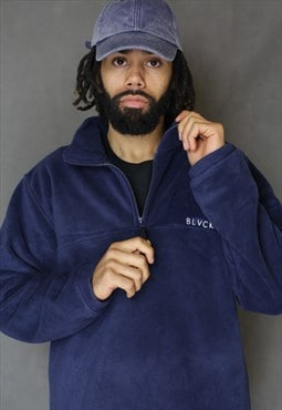 Navy Blue 1/4 Zip Fleece Jumper