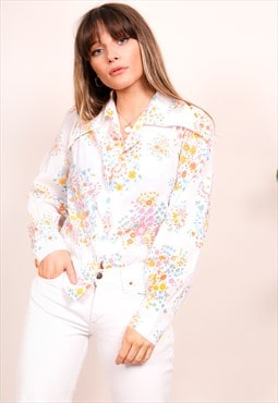 Vintage 80s White Floral Print Long Sleeve Blouse