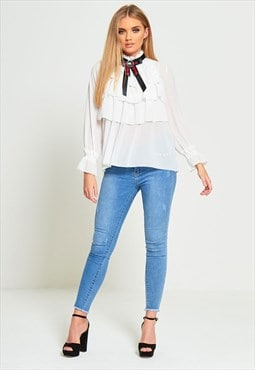 White Ruffle High Neck Blouse With Brooch