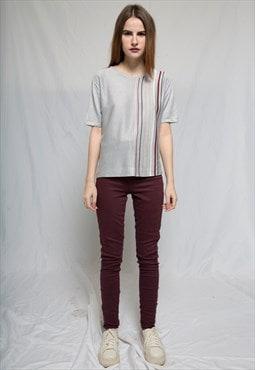Burgundy High Waisted Elastic Jeans
