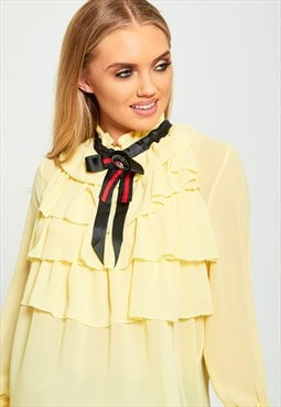 Yellow Ruffle High Neck Blouse With Brooch