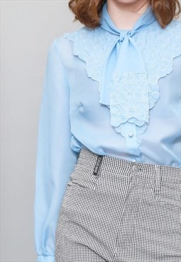 Vintage 1970's Pale Blue Sheer Floral Bow Blouse