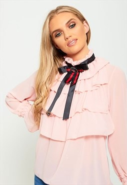 Pink Ruffle High Neck Blouse With Brooch