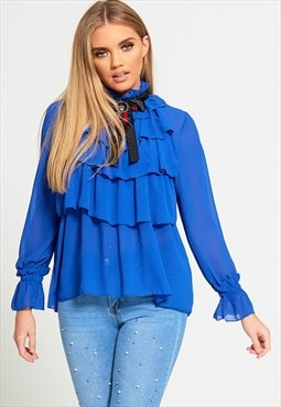 Ruffle High Neck Blouse With Brooch